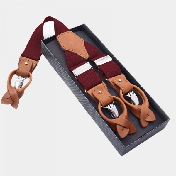 Mens Burgundy Button End Suspenders from Gentlemansguru.com