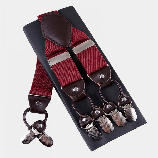 Mens Burgundy Double Clip Suspenders -Dual Clip Suspenders-Black Tuxedo Suspenders-Hold Up Suspenders-Double Up Suspenders from Gentlemansguru.com