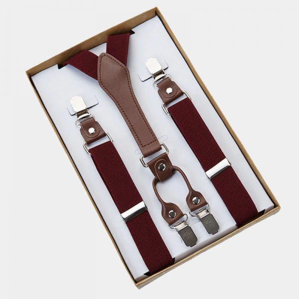 Mens Classic Burgundy Suspenders from Gentlemansguru.com