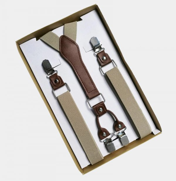 Mens Classic Khaki Suspenders from Gentlemansguru.com