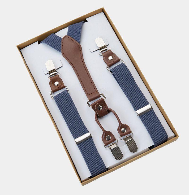 Mens Classic Steel Blue Suspenders from Gentlemansguru.com