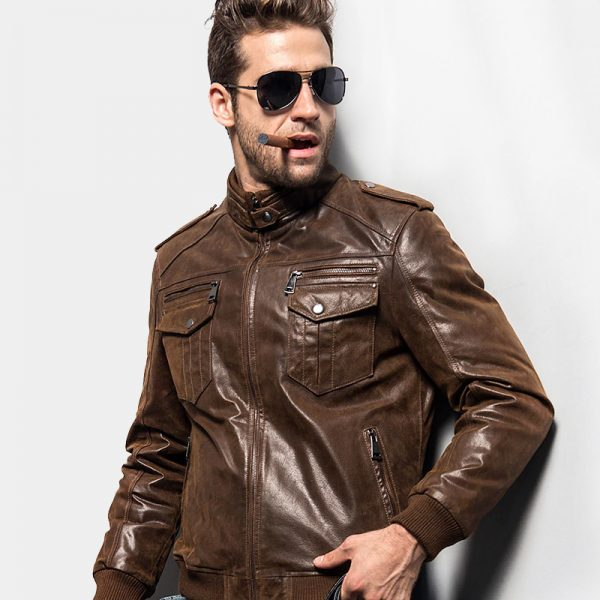 Mens Distressed Brown Leather Jacket from Gentlemansguru.com