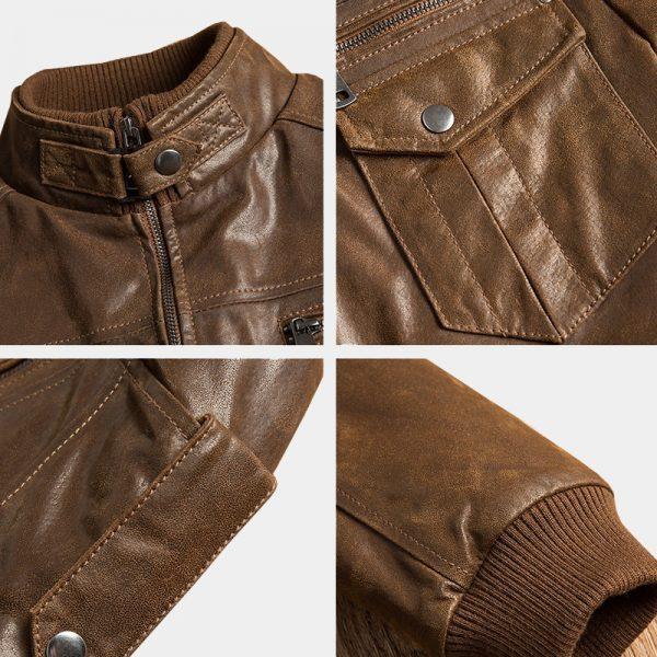Mens Distressed Brown Motorcycle Leather Jacket Details from Gentlemansguru.com