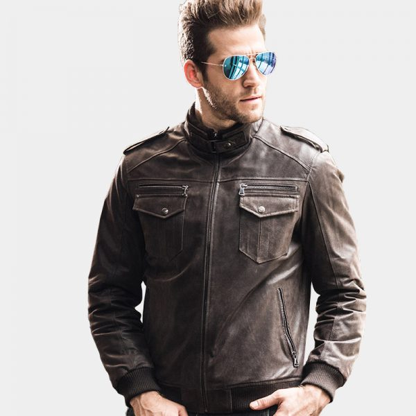 Mens Distressed Dark Brown Leather Jacket from Gentlemansguru.com