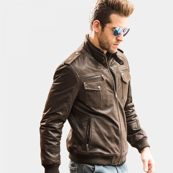 Mens Distressed Dark Brown Motocycle Leather Jacket from Gentlemansguru.com