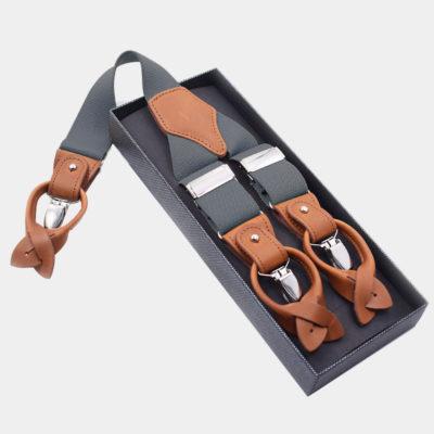 Mens Gray Button End Suspenders from Gentlemansguru.com