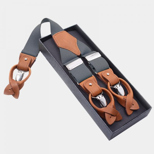 Mens Gray Button End Suspenders from Gentlemansguru.com