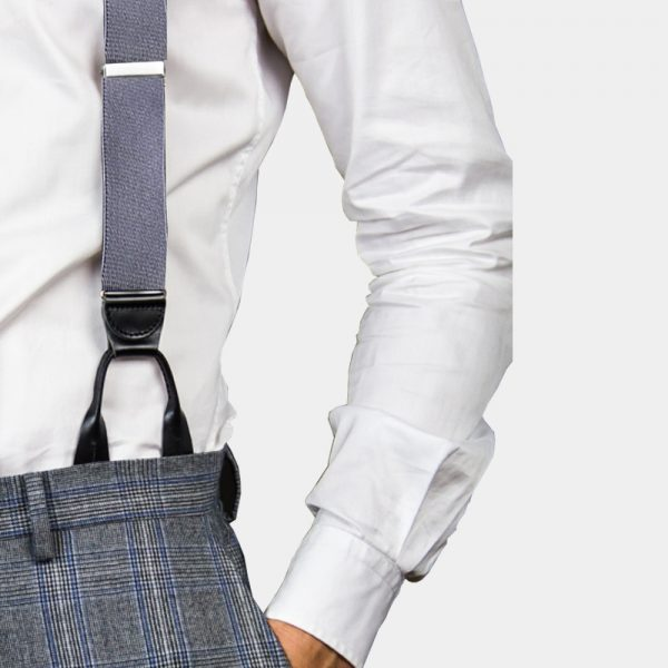 Mens Gray Button On Suspenders Braces from Gentlemansguru.com