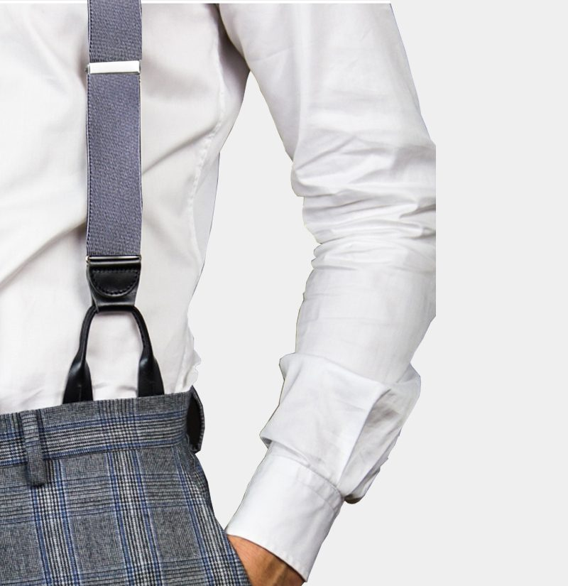 Mens Gray Button On Suspenders Braces from Gentlemansguru.com