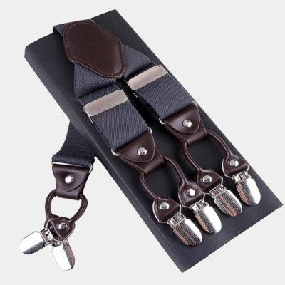 Mens Gray Double Clip Suspenders -Dual Clip Suspenders-Black Tuxedo Suspenders-Hold Up Suspenders-Double Up Suspenders from Gentlemansguru.com