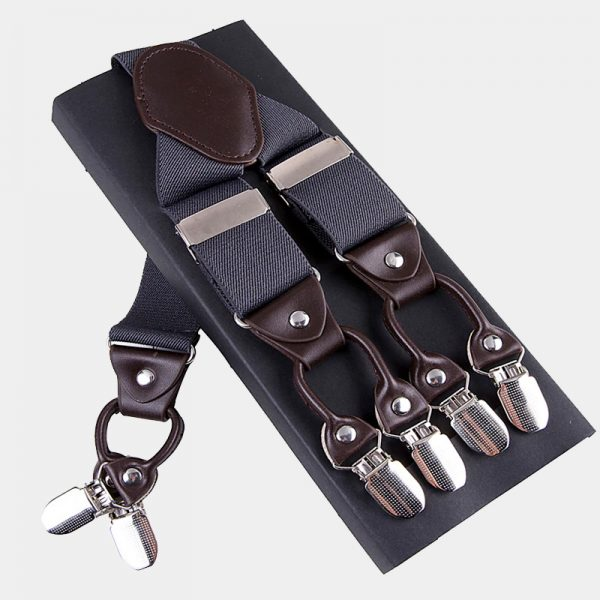 Mens Gray Double Clip Suspenders -Dual Clip Suspenders-Black Tuxedo Suspenders-Hold Up Suspenders-Double Up Suspenders from Gentlemansguru.com