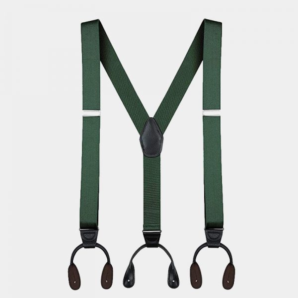 Mens Hunter Green Button Suspenders Braces With Black Leather from Gentlemansguru.com