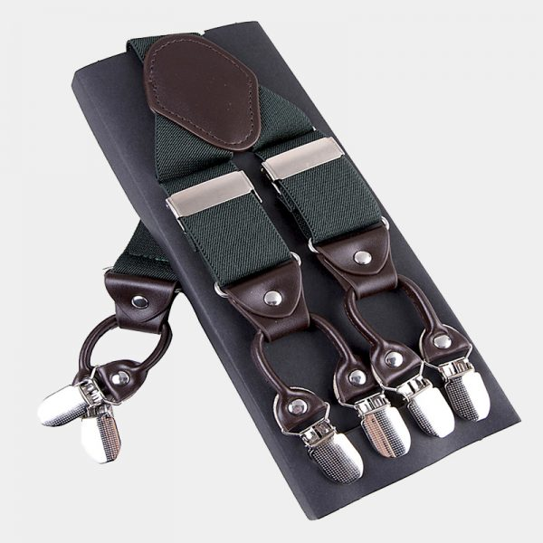 Mens Hunter Green Double Clip Suspenders -Dual Clip Suspenders-Black Tuxedo Suspenders-Hold Up Suspenders-Double Up Suspenders from Gentlemansguru.com