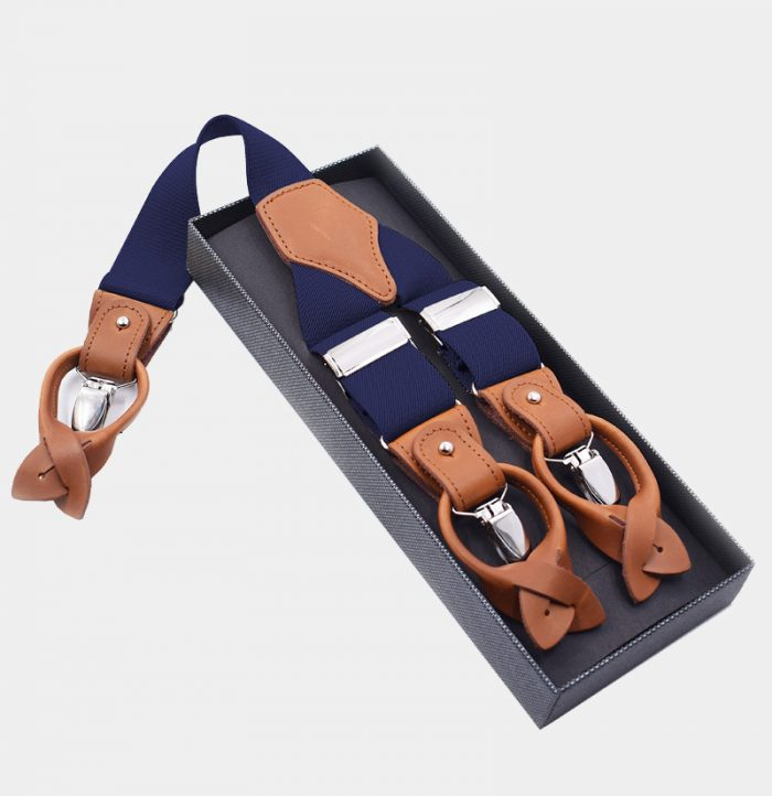 Mens Navy Blue Button End Suspenders from Gentlemansguru.com