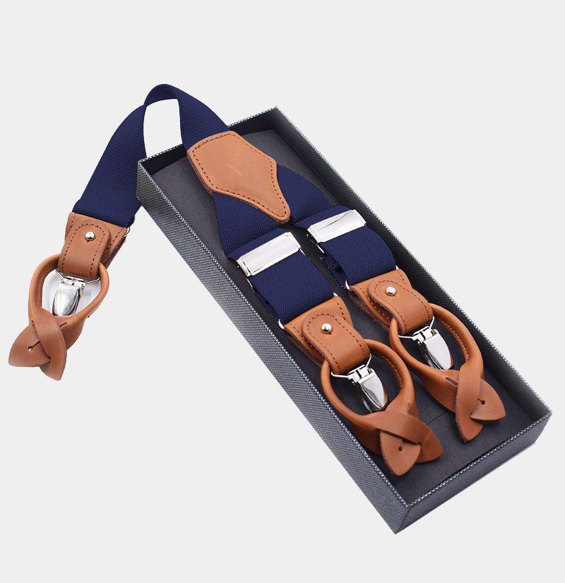 Mens Navy Blue Button End Suspenders from Gentlemansguru.com