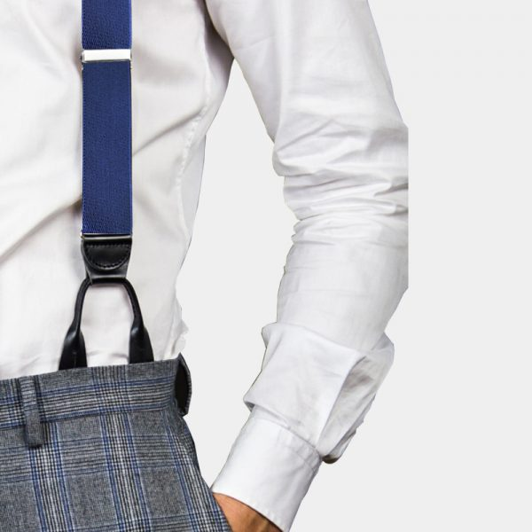 Mens Navy Blue Button On Suspenders Braces from Gentlemansguru.com
