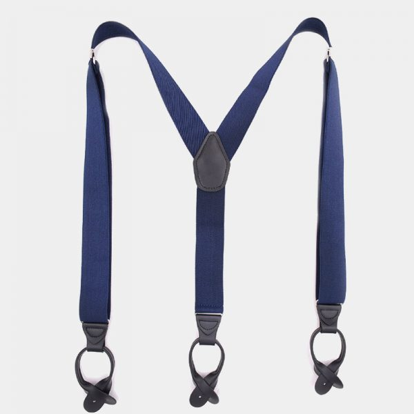 Mens Navy Blue Button Suspenders Braces With Black Leather from Gentlemansguru.com