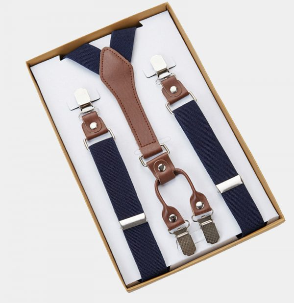 Mens Classic Navy Blue Suspenders from Gentlemansguru.com