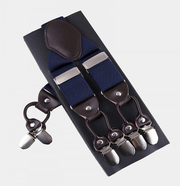 Mens Navy Blue Double Clip Suspenders -Dual Clip Suspenders-Black Tuxedo Suspenders-Hold Up Suspenders-Double Up Suspenders from Gentlemansguru.com