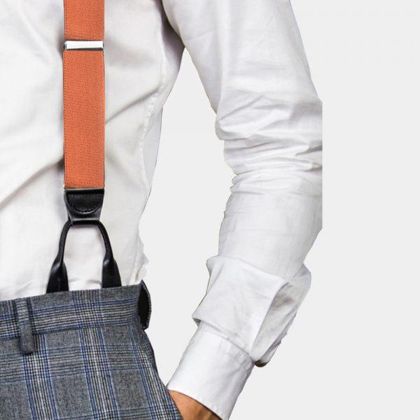 Mens Orange Button On Suspenders Braces from Gentlemansguru.com