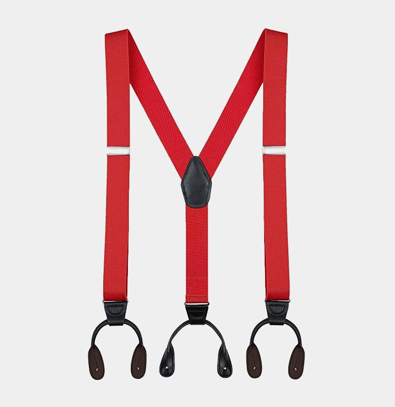 Mens Red Button Suspenders Braces With Black Leather from Gentlemansguru.com