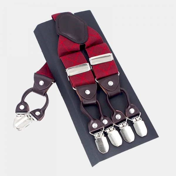 Mens Red Plaid Double Clip Suspenders from Gentlemansguru.com