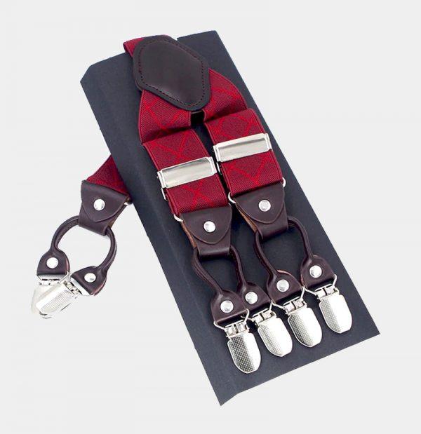 Mens Red Plaid Double Clip Suspenders from Gentlemansguru.com