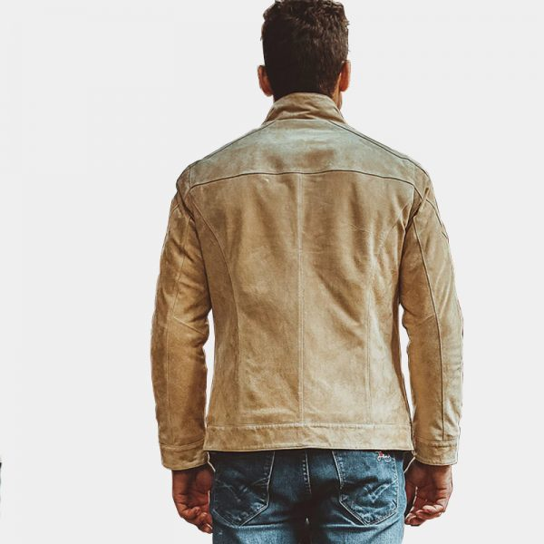 Mens Tan Biege Suede Leather Jacket from Gentlemansguru.com