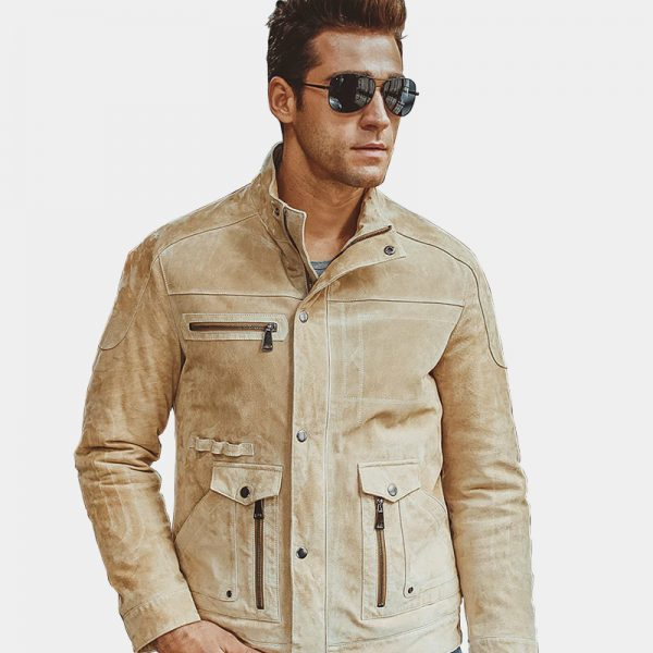 men's beige suede leather jacket