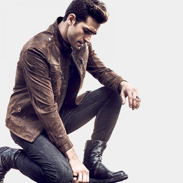 Men's Vintage Dark Brown Leather Jacket from Gentlemansguru.com