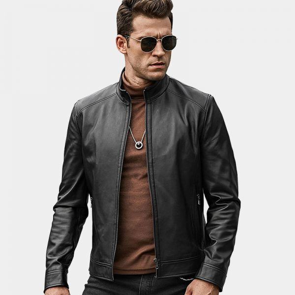 Menss Black Lambskin Leather Coat Jacket from Gentlemansguru.com