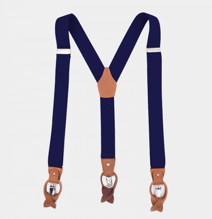 Navy Blue Button End Suspenders With Brown Leather from Gentlemansguru.com