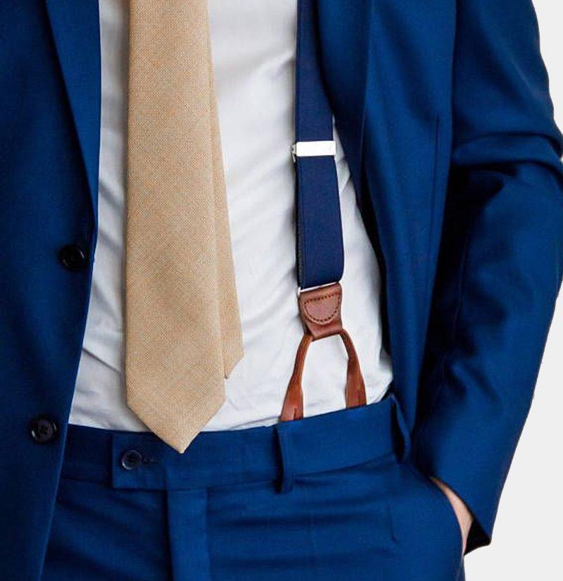 Navy Blue Button Suspenders With Brown Leather from Gentlemansguru.com