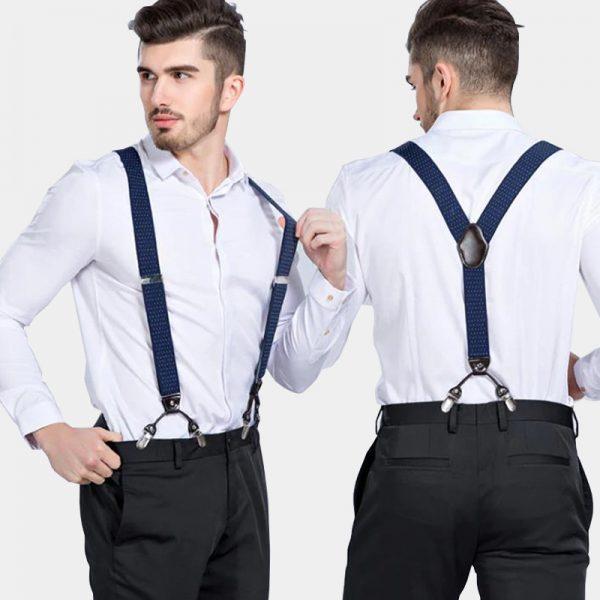 Navy Blue Dual Clip Double Ups Suspenders from Gentlemansguru.com