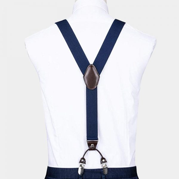 Navy Blue Dual Clip Double Ups Suspenders from Gentlemansguru.com