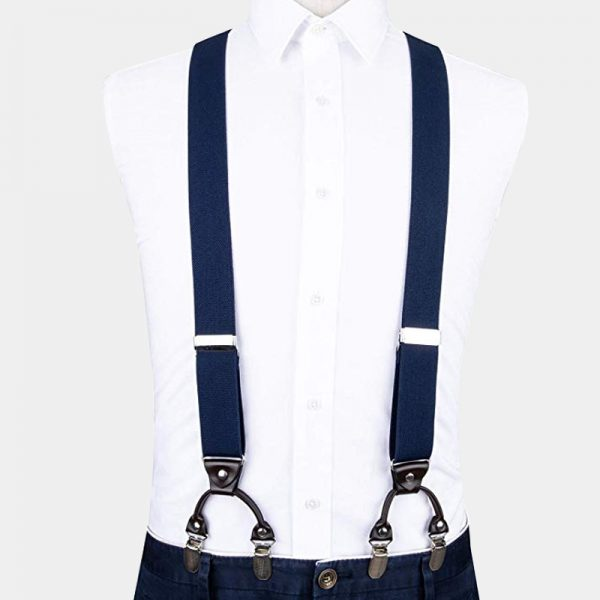 Navy Blue Dual Clip Suspenders from Gentlemansguru.com