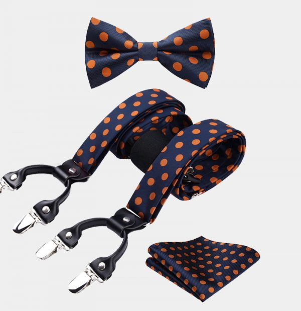 Orange Polka Dot Bow Tie and Suspenders from Gentlemansguru.com