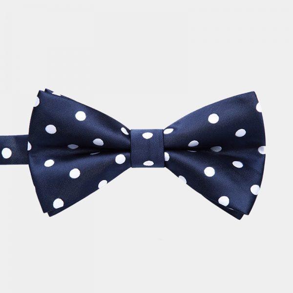 Navy Blue Polka Dot Dotted Pre-Tie Bow Tie from Gentlemansguru.com