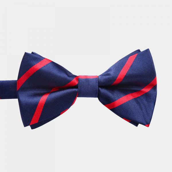Blue and Red Striped Bow Tie And Suspenders Set from Gentlemansguru.com