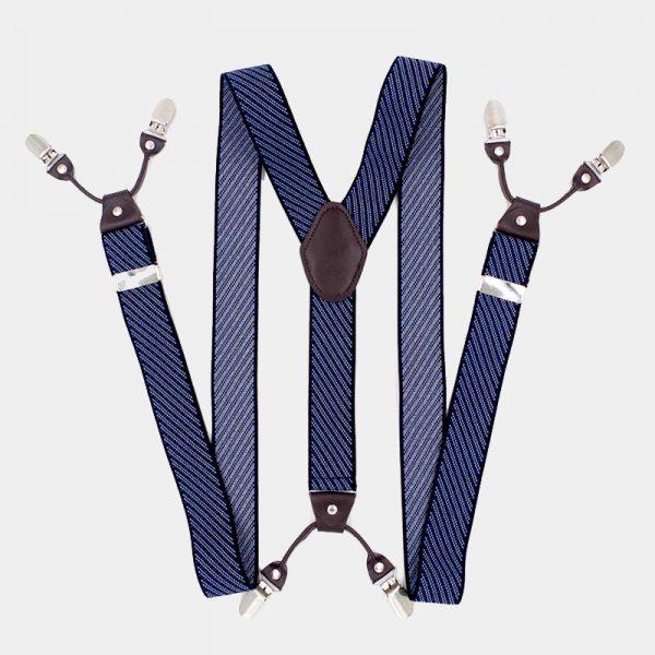 Navy Blue Striped Dual Clip Double Ups Suspenders from Gentlemansguru.com