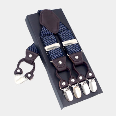 Navy Blue Striped Dual Clip Suspenders -Dual Clip Suspenders- Navy Blue Tuxedo Suspenders-Hold Up Suspenders-Double Up Suspenders from Gentlemansguru.com