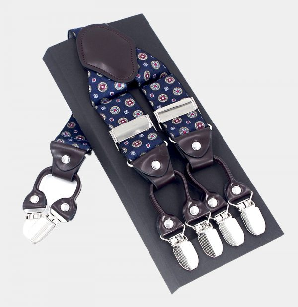 Navy Blue Vintage Suspenders, Double Clip Suspenders Dual Clip Suspenders -Tuxedo Suspenders-Hold Up Suspenders-Double Up Suspenders from Gentlemansguru.com
