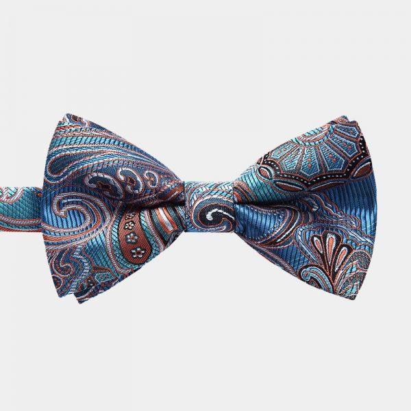 Ocean Blue Paisley Pre-Tie Bow Tie from Gentlemansguru.com