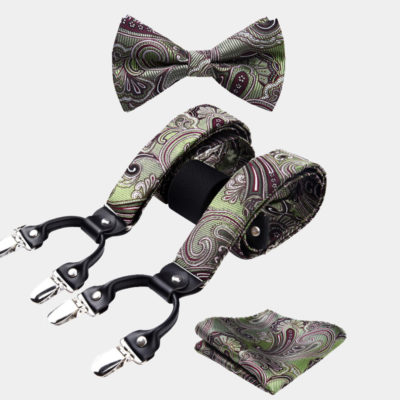 Olive Green Paisley Bow Tie And Suspenders Set from Gentlemansguru.com