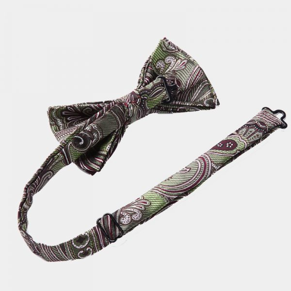Olive Green Paisley Bow Tie Set from Gentlemansguru.com