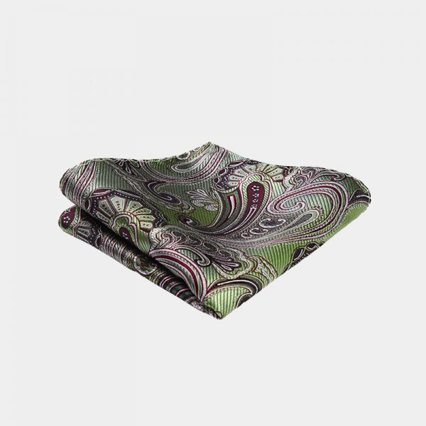 Olive Green Paisley Pocket Square from Gentlemansguru.com