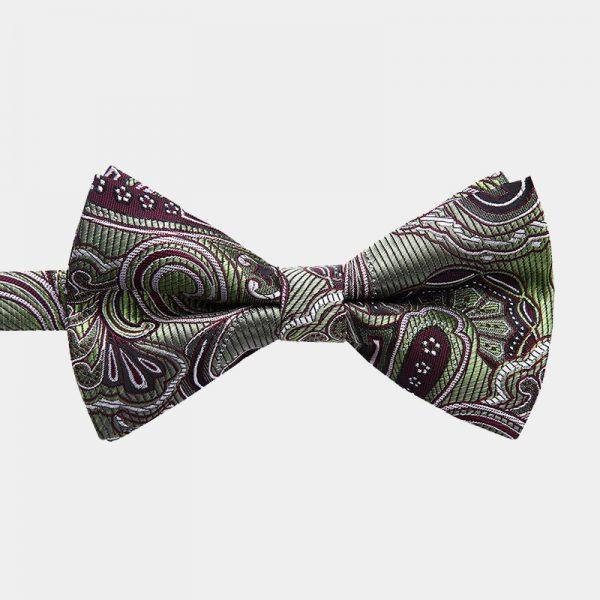 Olive Green Paisley Pre-Tie Bow Tie from Gentlemansguru.com