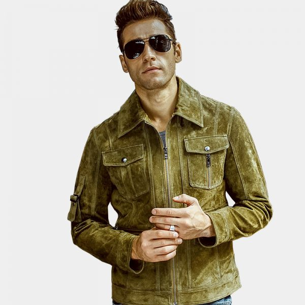 Olive Green Suede Leather Jacket Coat For Men from Gentlemansguru.com