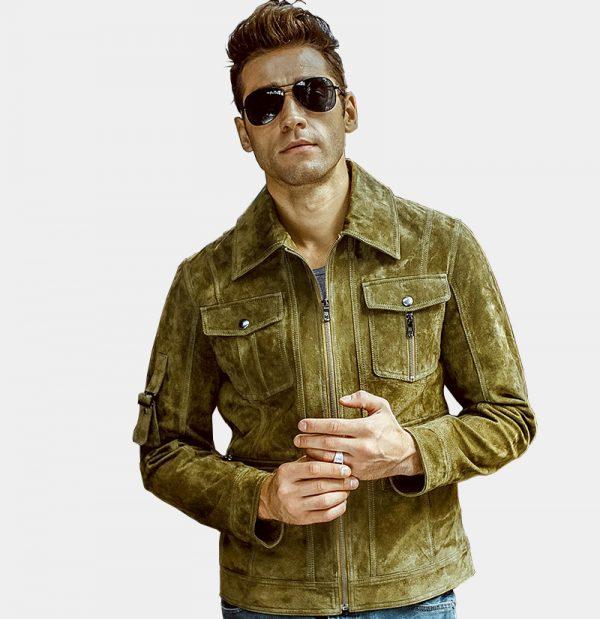 Olive Green Suede Leather Jacket Coat For Men from Gentlemansguru.com