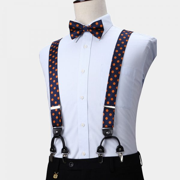 Orange Polka Dot Bow Tie and Suspenders from Gentlemansguru.com